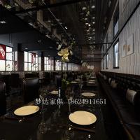 现代中西餐厅火锅店布艺转角沙发