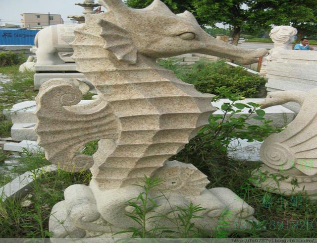 供应海马雕刻石雕工艺品 动物石雕 福建石雕艺术