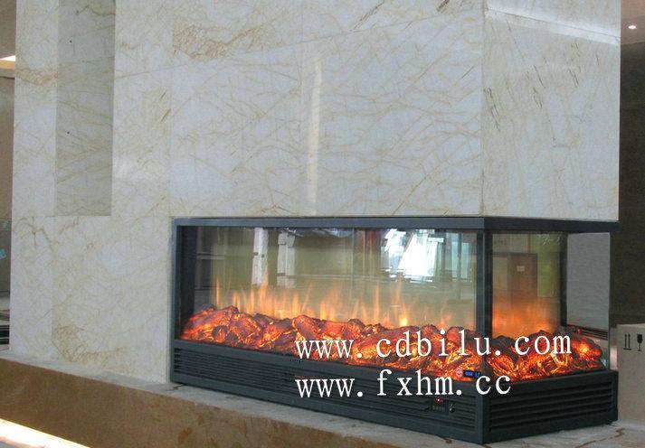 供应冠军瓷砖国际展厅三面火焰伏羲壁炉