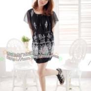 2012韩版雪纺面料淑女时尚魅力连衣裙女装新品黑色白色