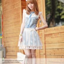 两件包邮2011夏装新款韩国女装独特可爱蕾丝花边仿牛仔布连衣裙批发