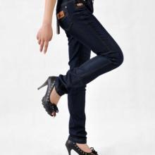 名美品牌2011韩版春夏细腰带中腰弹力牛仔裤女直筒裤批发