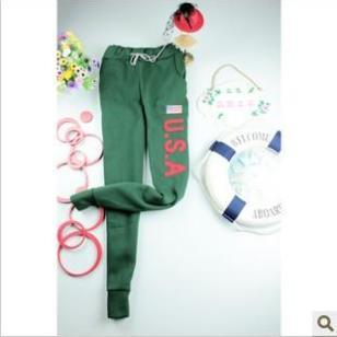 韩版加绒女式保暖休闲运动裤图片