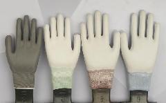 针织无缝13针尼龙PU涂指手套图片