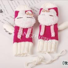 供应时尚可爱针织背带兔手套︱保暖卡通批发