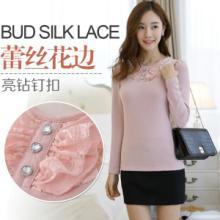 供应批发韩版女装新款泡泡袖蕾丝拼接上衣修身圆领打底针织衫