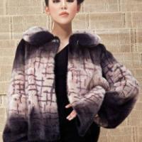 女式深紫段染印条纹皮草短外套