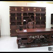 供应红木书房家具-2.2米书房办公家具-弯角办公桌批发