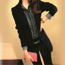小西装女外套长袖潮2014春装春秋新款韩版中长款一粒扣修身西服批发
