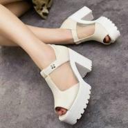 2014春夏欧美英伦粗跟短靴厚底高跟图片