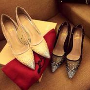 休闲尖头单鞋网纱高跟水钻女鞋图片