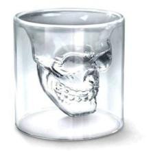 供应创意无色透明玻璃杯餐饮用具海盗骷髅头酒杯无盖双层夜店洋酒杯子批发