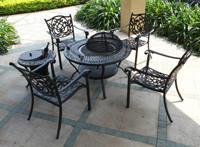 供天津铸铝烧烤桌椅铸铝躺椅铸铝藤编桌椅户外休闲家具 遮阳伞铸铝桌椅