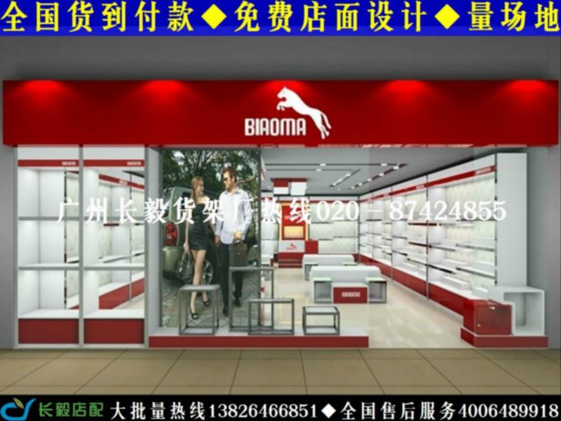 供应广州长毅烤漆展柜厂时尚鞋店装修图个性鞋店装修货架展示柜高清图片