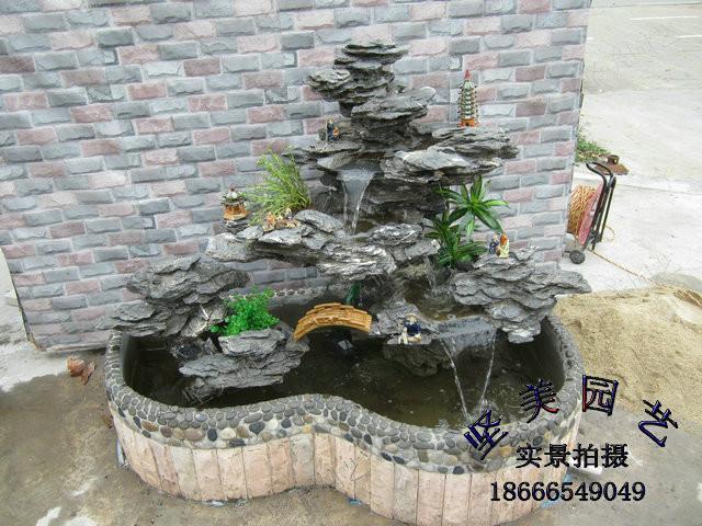 欧式流水喷泉大型鱼池盆景图片
