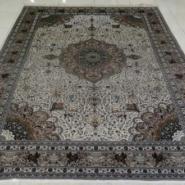 波斯典雅简约真丝手工打结编织地毯图片