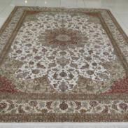欧式素雅高贵真丝手工编织打结地毯图片