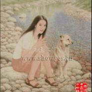 油画照片十字绣DIY钻石画女人和狗图片