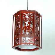 实木雕刻红色六角羊皮吊灯图片