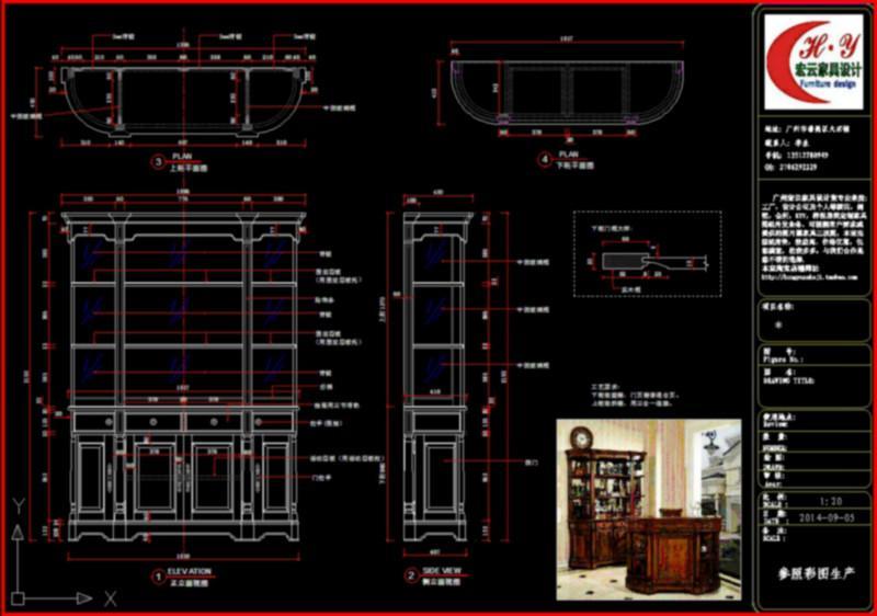 代画定制家具吧柜CAD三视图纸高调cad字图片图片