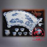 供应办公陶瓷茶具套装,景德镇手绘青花陶瓷茶具,大茶盘陶瓷茶具套装