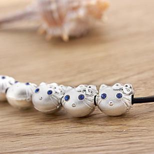 可爱猫纯银DIY配件批发D0072图片