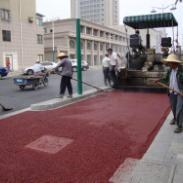 公交车道彩色沥青施工图片