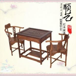 茶台鸡翅木方形休闲泡茶桌三件套图片