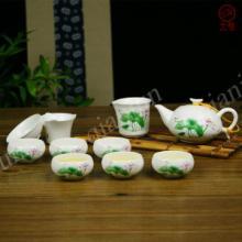 供应高档定窑亚光陶瓷功夫茶具套装盖碗系列贴花图片