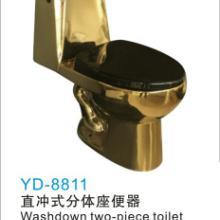 供应潮州洁具金色马桶 韩国分体 镀钛金分体马桶 配套金色洗手盆批发