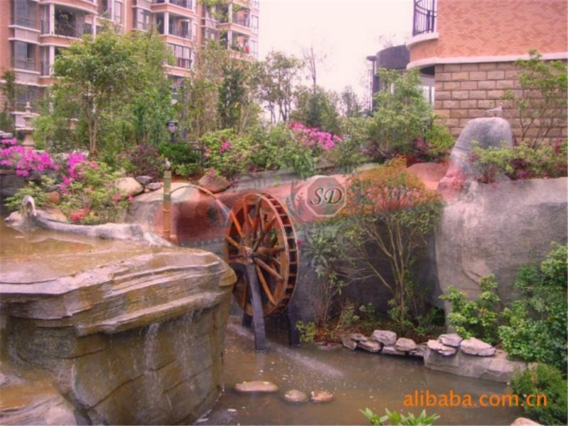 供应定做园林景观水池仿古木质水车木质结构产品