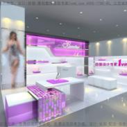 仙妮特小面积实体女鞋店装修色彩图片