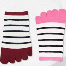 供应台湾袜子条纹女五指袜