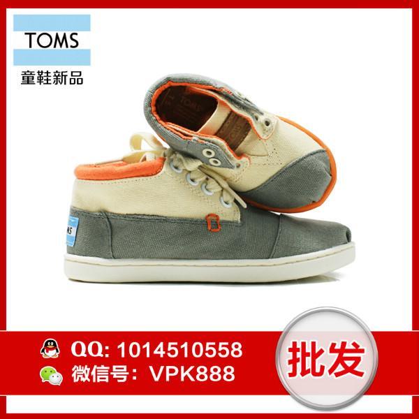 供应toms高帮鞋 正品牛仔系带高帮童鞋