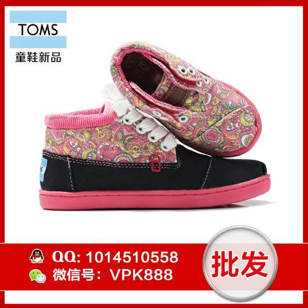 供应toms系带童鞋 正品高帮系带漩涡花呢帆布鞋