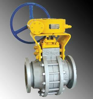 供应q347蜗轮式手动耐磨对分式固定球阀上海良工阀门厂图片