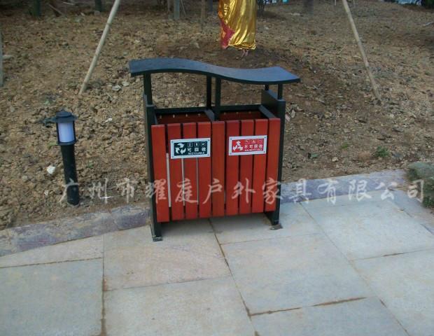 供应重庆户外钢木垃圾桶垃圾箱果皮箱