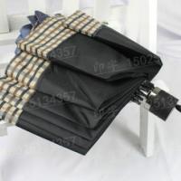 供应包边雨伞昆明定做广告伞三折叠拼接格子边印商标字+本色布袋+opp袋