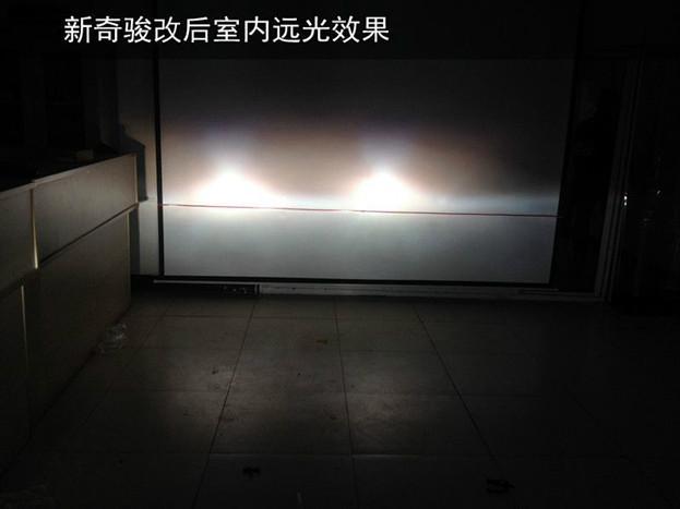 南京改装新奇骏大灯 新奇骏大灯改装进口飞利浦灯泡 改后高清图片