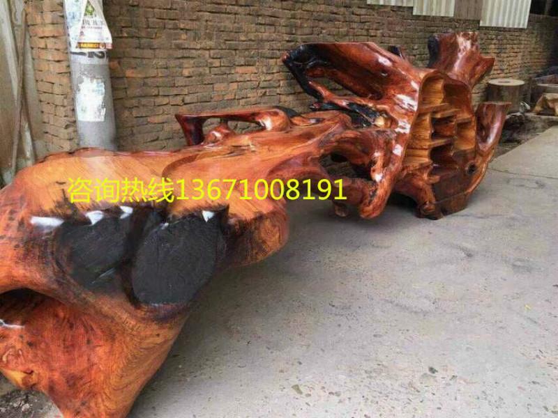 博古架茶桌一体|北京根雕博古架|大根雕茶几价格一