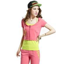 供应哪里有最新款韩版三件套批发零售女士短袖舒适运动套装