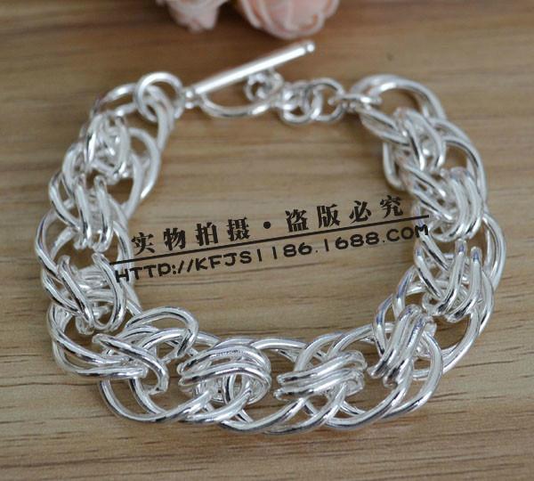 供应镀银男士时尚多层串圈手链H237