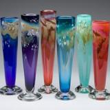 穆拉诺玻璃花瓶 玻璃花瓶 五彩的玻璃花瓶 艺术的玻璃花瓶 花瓶手工吹制琉璃玻璃艺术局部照明
