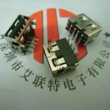 供应侧插USB座子A母90度短体侧插(LCP白胶+卷边+弯脚)ROHS+规格书+CAD批发