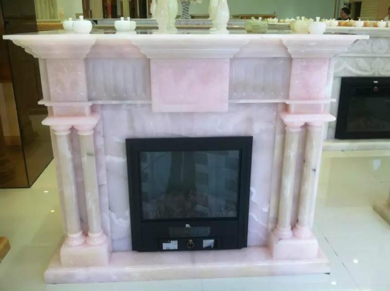 供应进口天然粉红玉石雕刻壁炉架